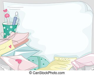 Love Letters Paper - Background Illustration Featuring a...