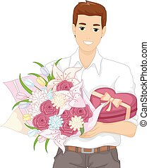 Man Bouquet Flowers Gift - Illustration of a Man Carrying a...