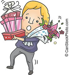 Man Bouquet Flowers Gift Clumsy - Illustration of a Clumsy...