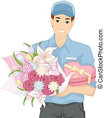 Man Bouquet Flowers Gift Deliver
