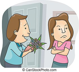Couple Flowers Sorry Gift - Illustration of a Man Offering a...
