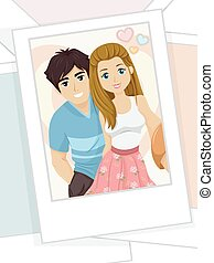 Couple Teen Selfie - Illustration of a Printed Photograph of...