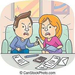 Couple Argue Financial Issue - Illustration of a Couple...