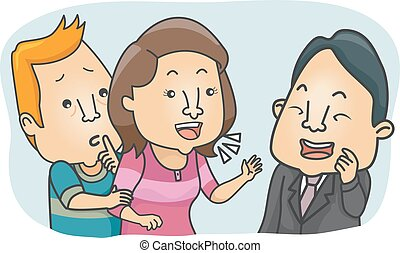 Couple Compulsive Talking - Illustration of a Man Stopping...