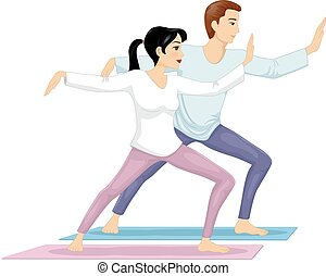 Couple Tai Chi Exercise - Illustration of a Couple while...