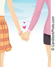 Couple Lesbians Hold Hands - Illustration of an Couple...