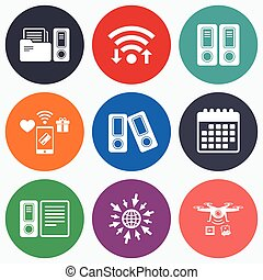 Accounting icons Document storage in folders - Wifi, mobile...