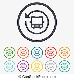 Bus shuttle icon Public transport stop symbol Round circle...