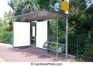 White Bus stop Sign - A Blank white Sign on Bus station
