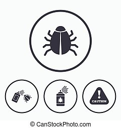Bug disinfection signs Caution attention icon - Bug...