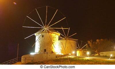 """historical mill at night, travel destination, alacati,..."