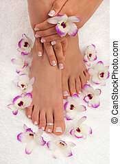 Pedicure - Spa treatment with beautiful exotic orchids