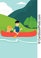 Man canoeing on the river - An asian man canoeing on the...