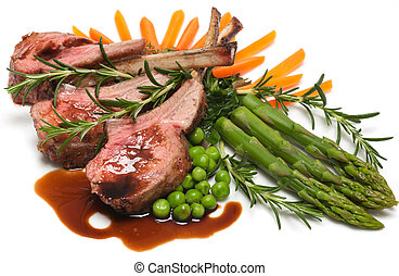 Lamb Chops - Gourmet lamb chop with vegetables, herbs and...