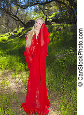 girl in red chiffon outdoors - beautiful blond girl in red...