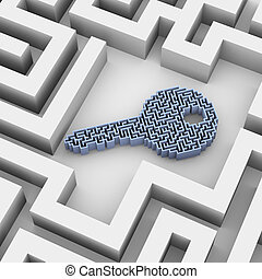 3d key shape labyrinth puzzle in maze