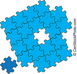 blue puzzle pieces assembly - a blue puzzle with a piece...