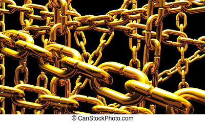 Gold Chains Abstract On Black Background Loop able 3DCG...