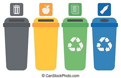 Four colored recycling bins - Four colored recycling bins...