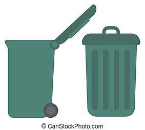 Large trash cans - Large trash cans vector flat design...