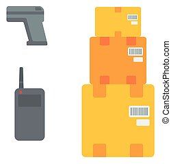 Cardboard boxes, barcode scanner and radio set. - Cardboard...