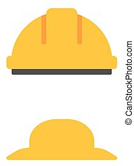 Hard hat and summer hat vector flat design illustration...