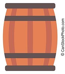 Wooden barrel for wine - Wooden barrel for wine vector flat...