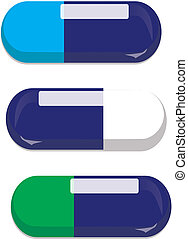 blue capsules - three blue capsules