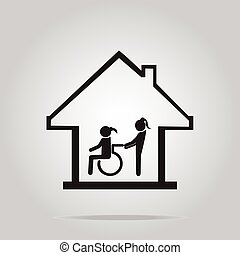 Disabled care, Nursing home sign icon, a woman pushing...