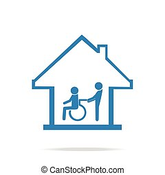 Disabled care, Nursing home sign icon, a man pushing...