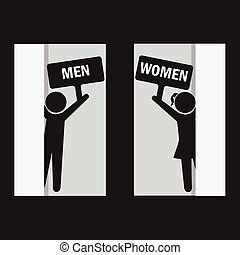 Toilet Sign, Fitting room sign flat icon illustration