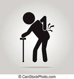 Elderly Man with stick and injury of the back pain icon, Old...