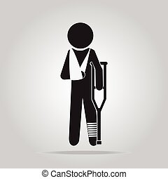 Injury man sign icon - Injury man in bandage with crutches...