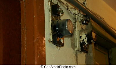 Old model electricity meter close-up shot. - Old model...