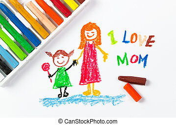 Happy mother's day - Kid drawing of mother and girl for...