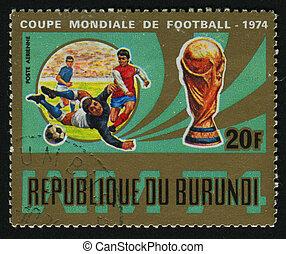 postmark - BURUNDI - CIRCA 1974: stamp printed by Burundi,...