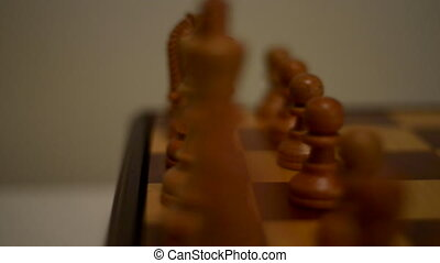 Wooden Chessboard close-up - Chess Slow Camera Trucking left...