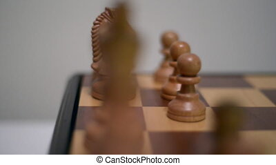 Game of Chess on a wooden board