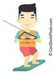 Professional wakeboard sportsman. - An asian professional...