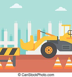 Background of excavator on construction site. - Background...