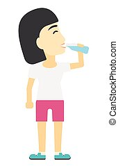 Woman drinking water. - An asian sportive woman drinking...