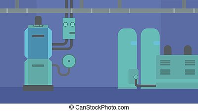 Background of domestic household boiler room.