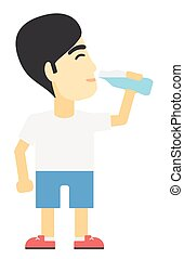 Man drinking water. - An asian man drinking water vector...