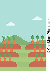 Background of carrots growing on field vector flat design...