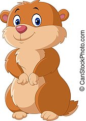 Cute Groundhog posing isolated - Vector illustration of Cute...