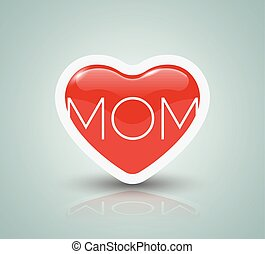 Mothers day card with heart.