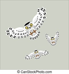 Three flying polar owls