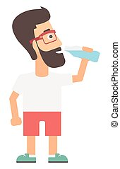 Man drinking water. - A hipster man with the beard drinking...