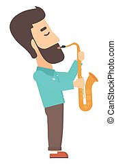 Man playing saxophone - A hipster man with the beard playing...