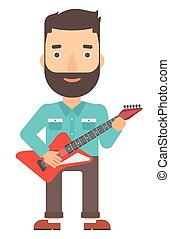 Musician playing electric guitar. - A hipster man with the...